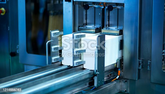 685555238 istock photo The conveyor chain, and conveyor belt is on production line in clean room. 1214666283