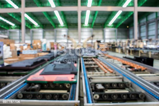 istock The conveyor chain, and conveyor belt is on production line. 697787706