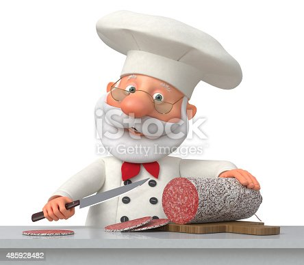 istock The cook in kitchen with sausage 485928482