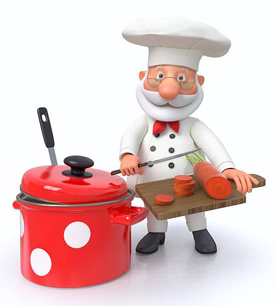the cook con un pan y un cucharón - sequence animation fotografías e imágenes de stock