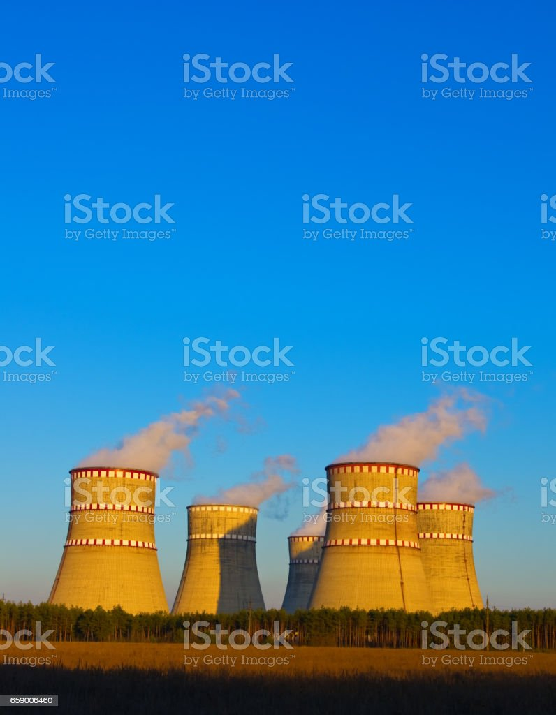 The cooling towers of the nuclear power plant royalty-free stock photo