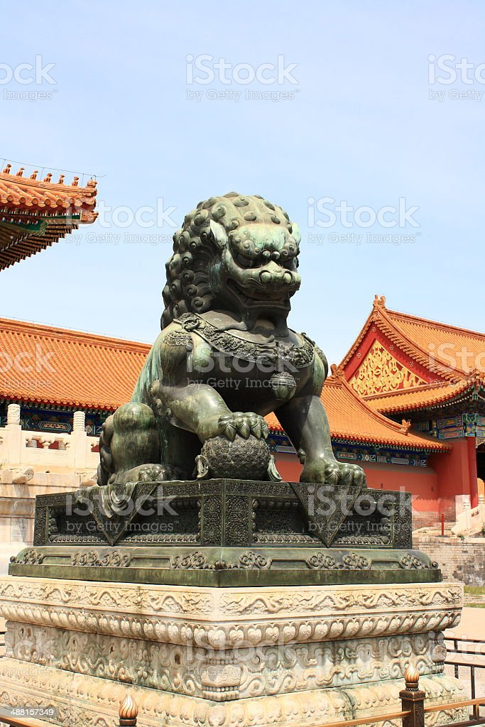 The copper lion royalty-free stock photo