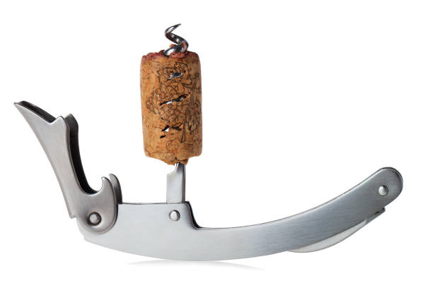 The cork on the corkscrew isolated on white background. Clipping path. stock photo
