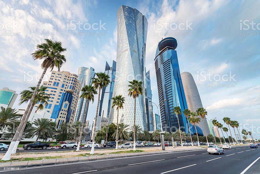 The Corniche of Doha, Qatar stock photo
