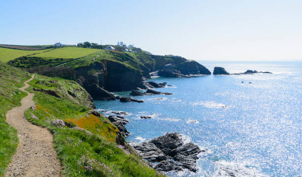 The Cornwall Coastal Footpath as it nears The Lizard Point in Cornwall. stock photo
