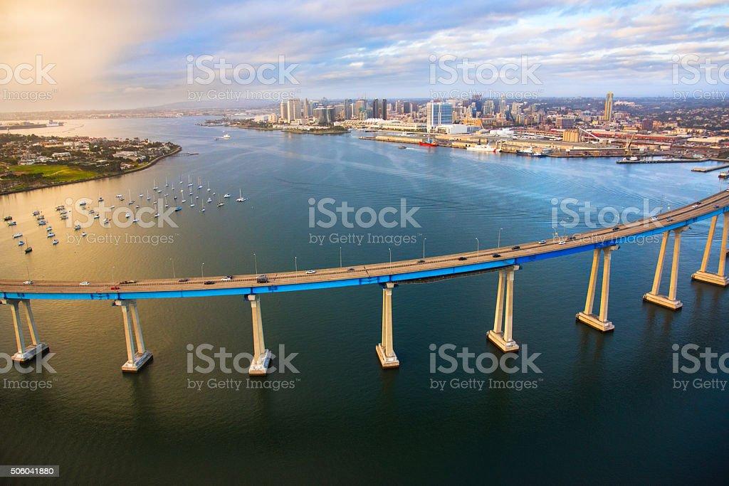 The Coronado Bridge Across San Diego Bay stock photo