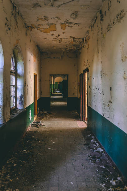 The corridor of an old abandoned school stock photo