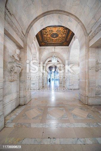 The Corridor of New York Public Librar,New York City, USA.