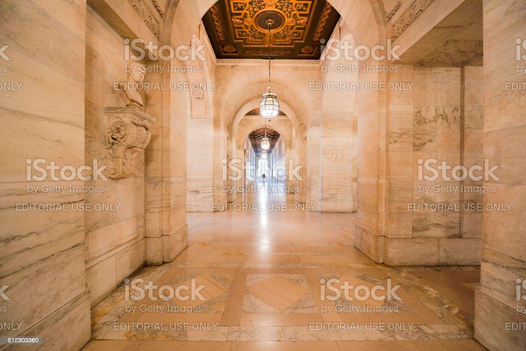 The Corridor of New York Public Library stock photo