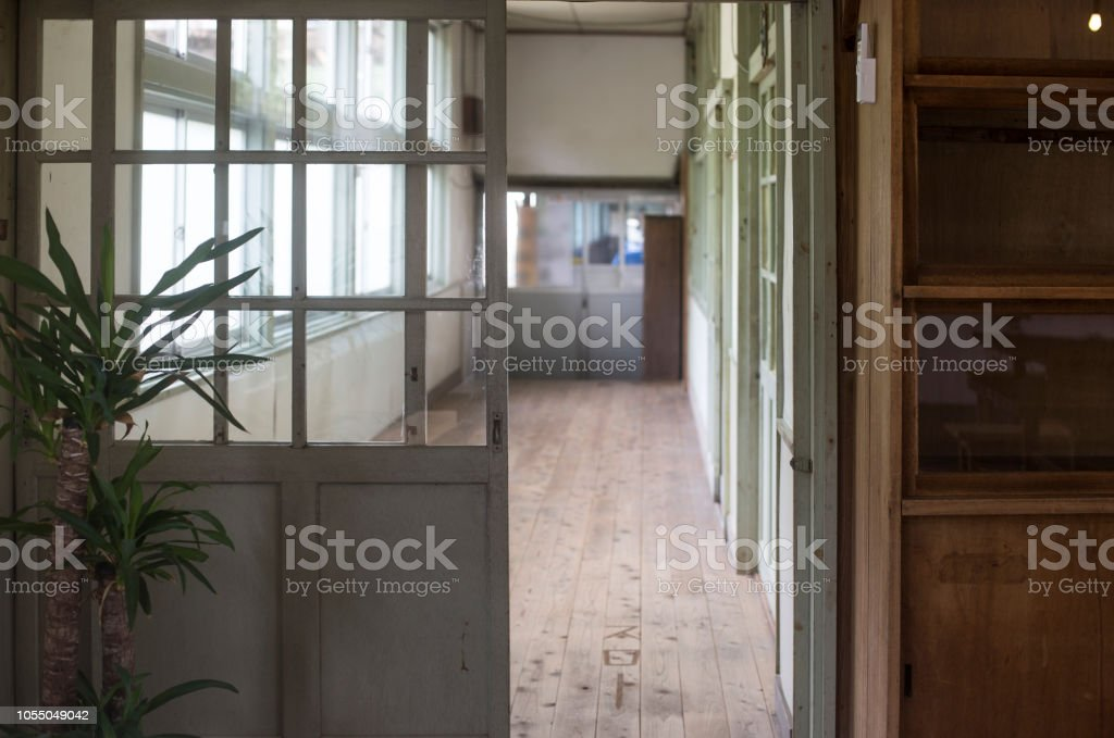 the corridor of the classroom at school stock photo