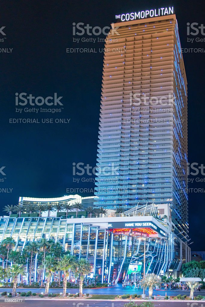 The Cosmopolitan at Las Vegas Strip during night stock photo