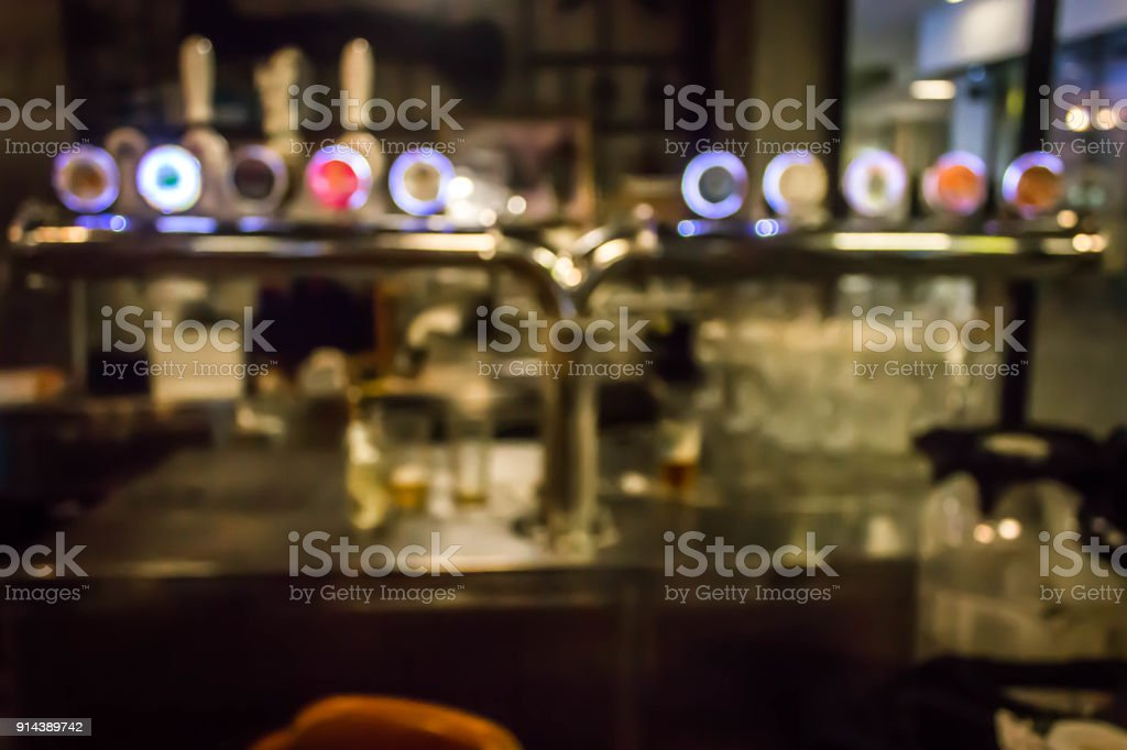 The counter with blurred beverages bar background stock photo