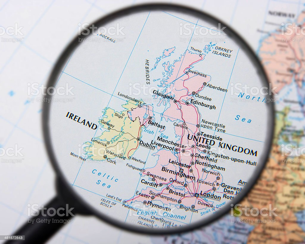 The country of the United kingdom and Ireland to the left  stock photo
