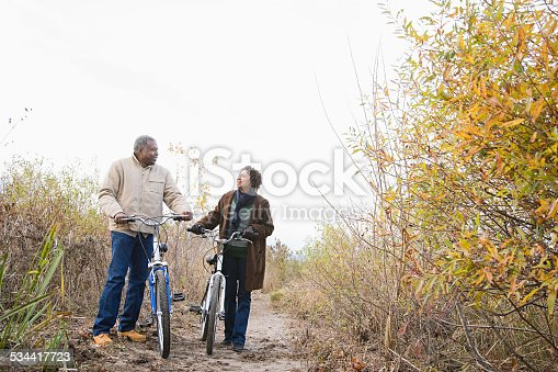 istock the couple pushing bicycles 534417723