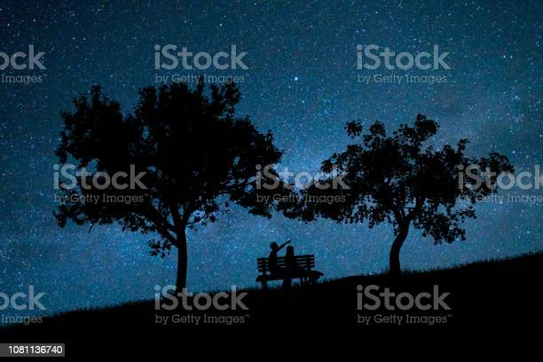 Photo of The couple sit on the bench against the background of the stars