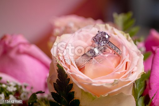istock The couple's diamond wedding rings is placed on a pink rose on the wedding day. 1134431560