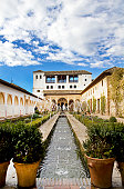 View of the Patio de la Acequia in the Palacio del Generalife, part of the La Alhambra complex in Granada, Spain.