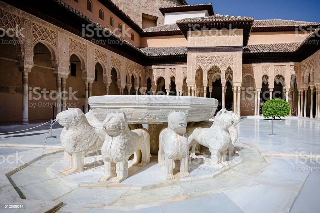 The Court of Lions, Granada, Alhambra, Spain stock photo