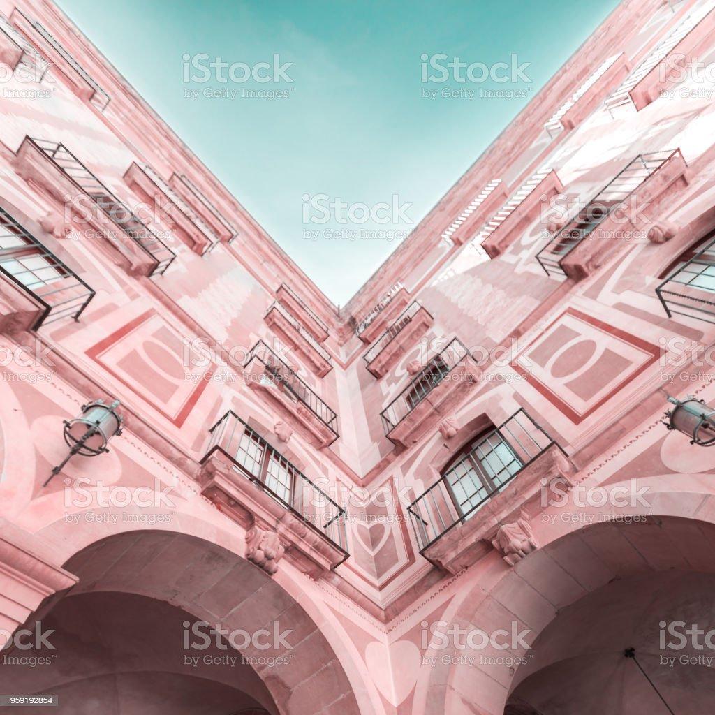 The courtyard of the Benedictine monastery of Santa Maria de Montserrat stock photo