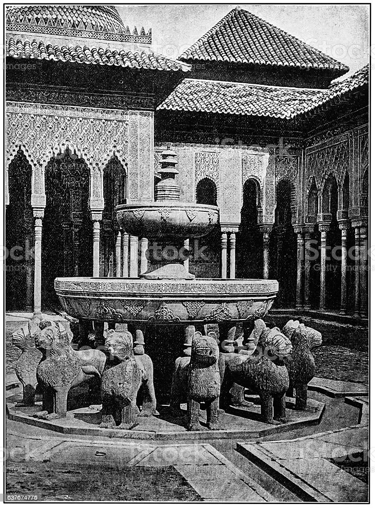 The Courtyard of the Lions. Alhambra stock photo