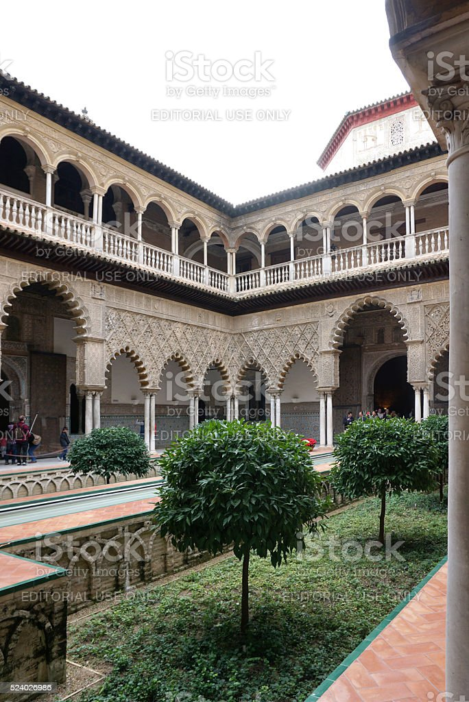 The Courtyard of the Maidens, beautiful internal open court of Alcázar of Seville stock photo