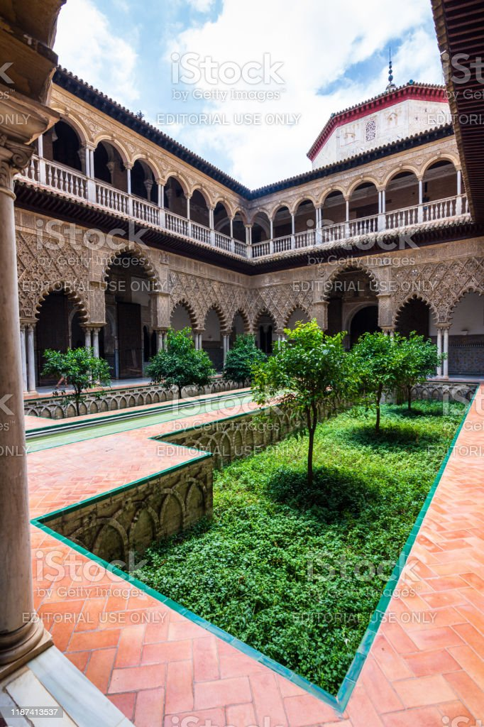 The Courtyard of the Maidens in the Royal Alcázar Palace in Seville, Spain - Royalty-free Alcazar Palace Stock Photo