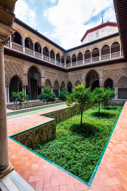 The Courtyard of the Maidens in the Royal Alcázar Palace in Seville, Spain stock photo