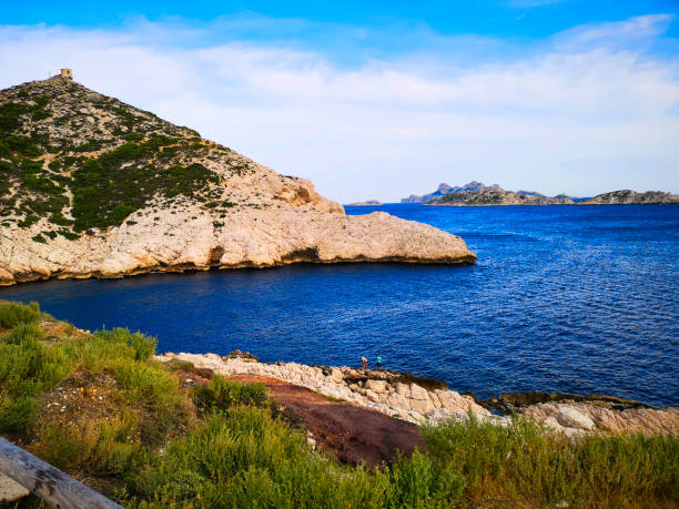 The cove of Callelongue in Marseille stock photo