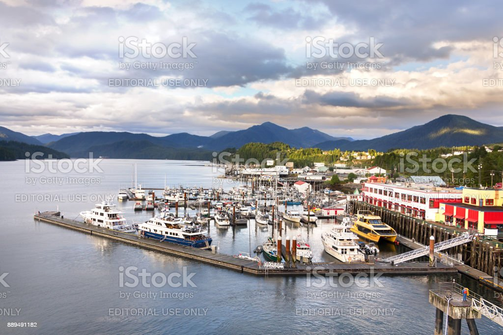 The Cow Bay Marine harbor at Prince Rupert, BC, Canada. stock photo