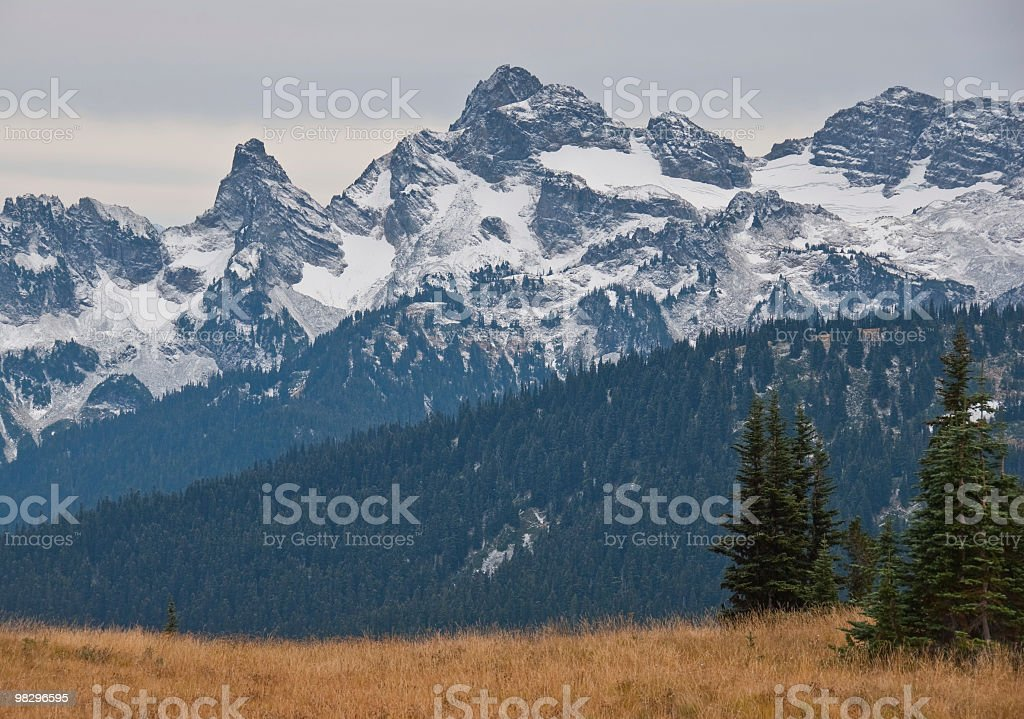 Sunrise Meadow and Cowlitz Chimneys royalty-free stock photo