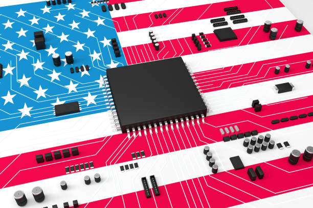 The CPU is covered with American flag CPU and Computer circuit board concept, The CPU is covered with American flag stock photo