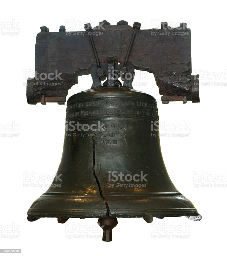 The cracked Liberty Bell against a white background stock photo