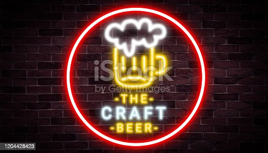 1140718043 istock photo The Craft beer neon banner,algohol,advertising product, light banner. 1204428423