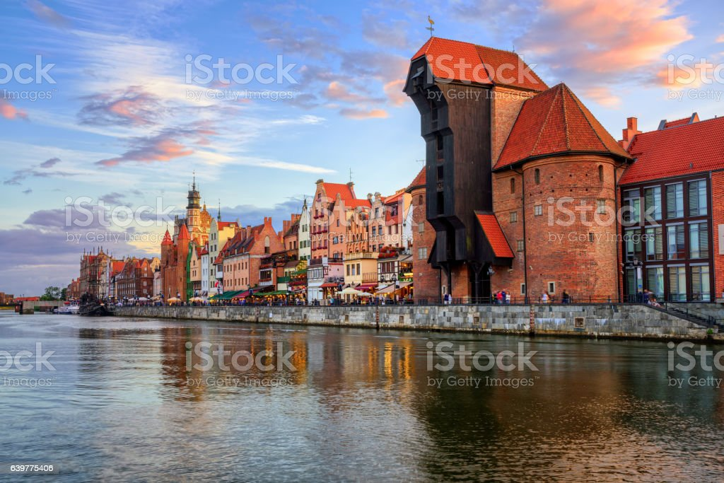The Crane and gothic old town on sunset, Gdansk, Poland stock photo