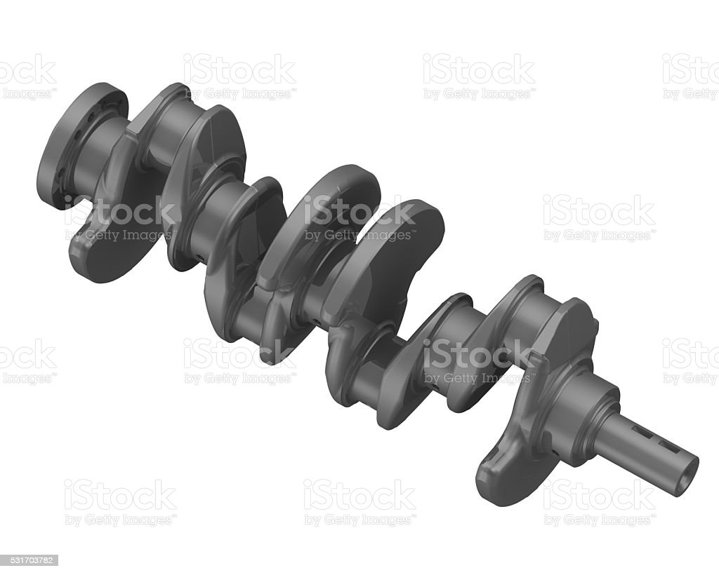 The crankshaft of the internal combustion engine stock photo