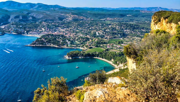 The creeks of the city of Cassis seen from the crest road stock photo