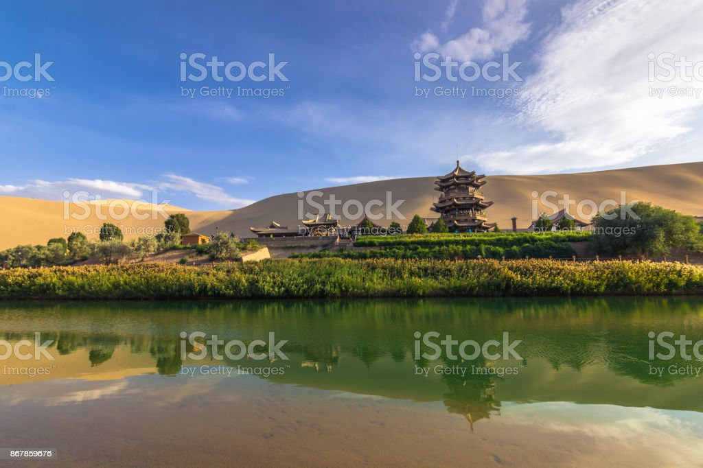 Dunhuang, China - August 06, 2014: The Crescent Lake Oasis in Dunhuang, China stock photo