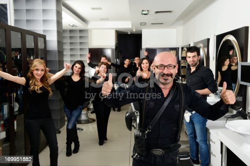 The Boss and the crew of hair salon, real people..