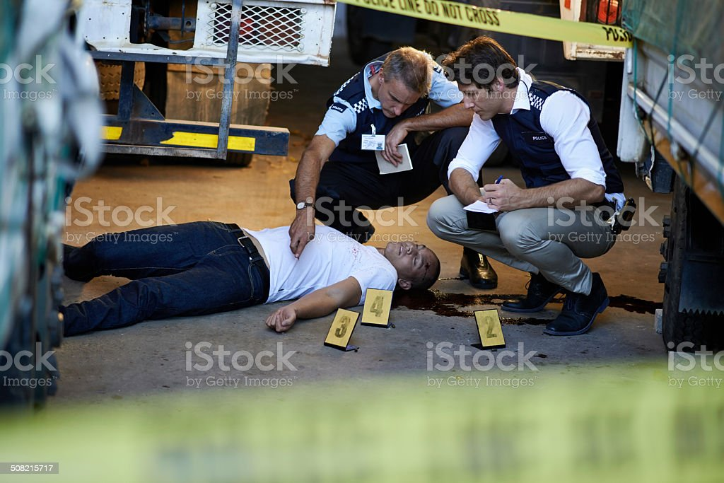 The crime scene evidience is essential stock photo
