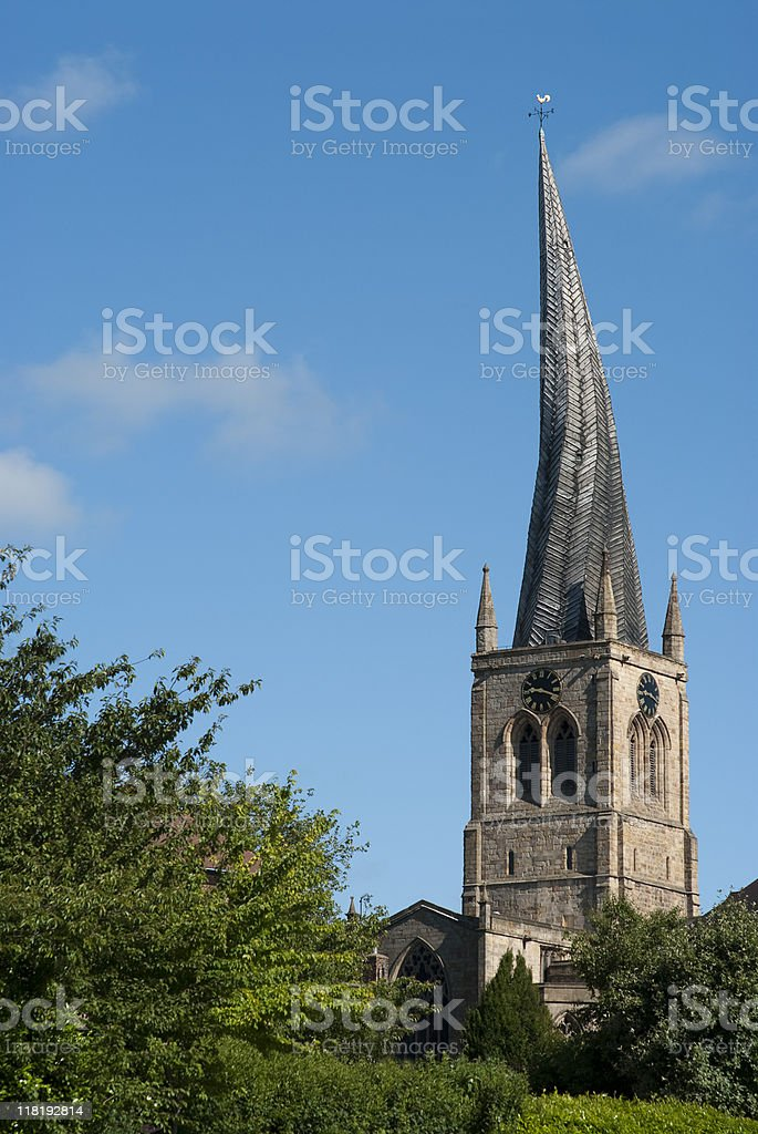 The Crooked Spire in Chesterfield stock photo