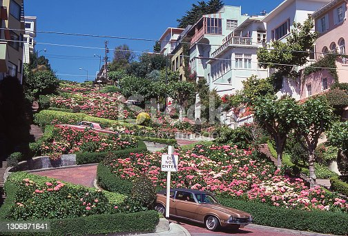 The Crookedest Street in the World, Lombard Street, San Francisco, California, USA on a spring day amongst rose beds. Scanned film, June 1974.