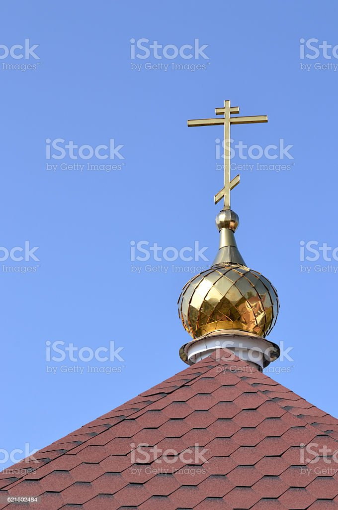 The cross on the dome of the Orthodox church. foto stock royalty-free