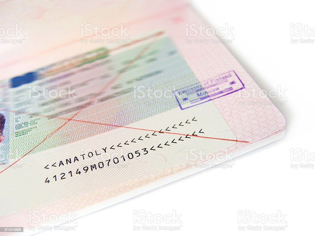 The crossed out visa stock photo