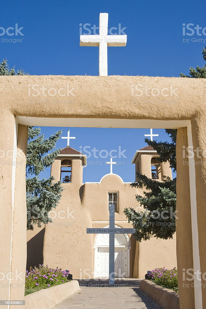 The Crosses and Entry into San Francisco de Asis Mission stock photo