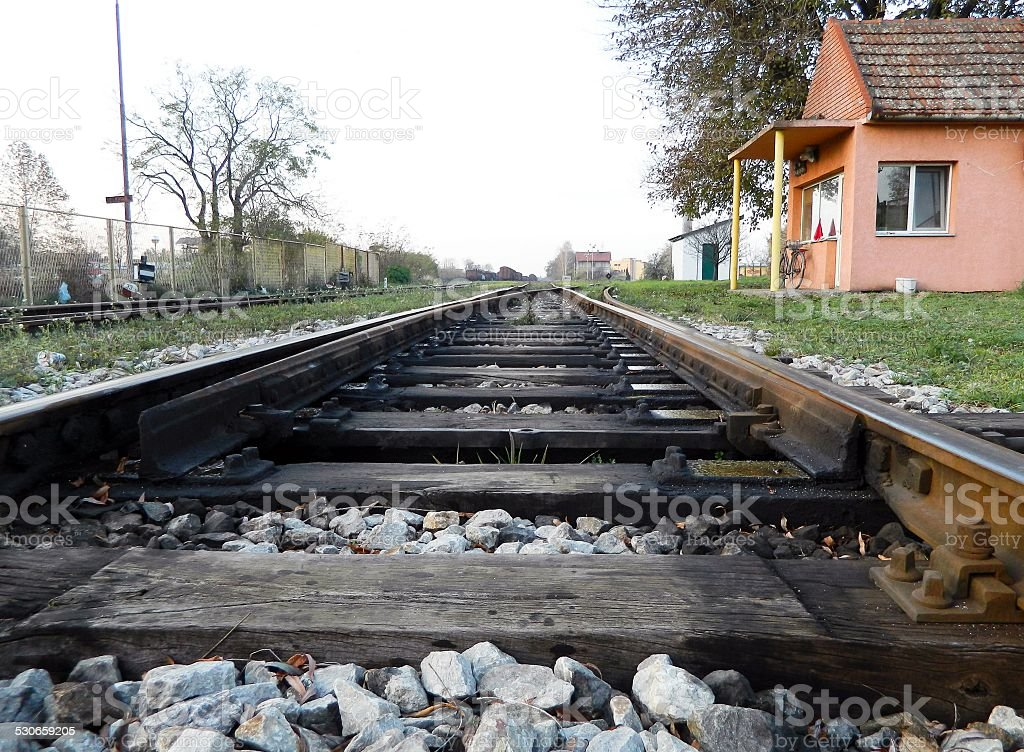 The crossover on the railway stock photo