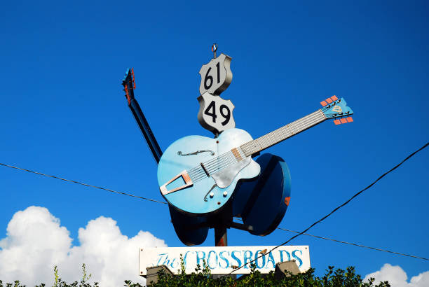The Crossroads, made famous by a Blues Song, in Clarksdale, Mississippi stock photo