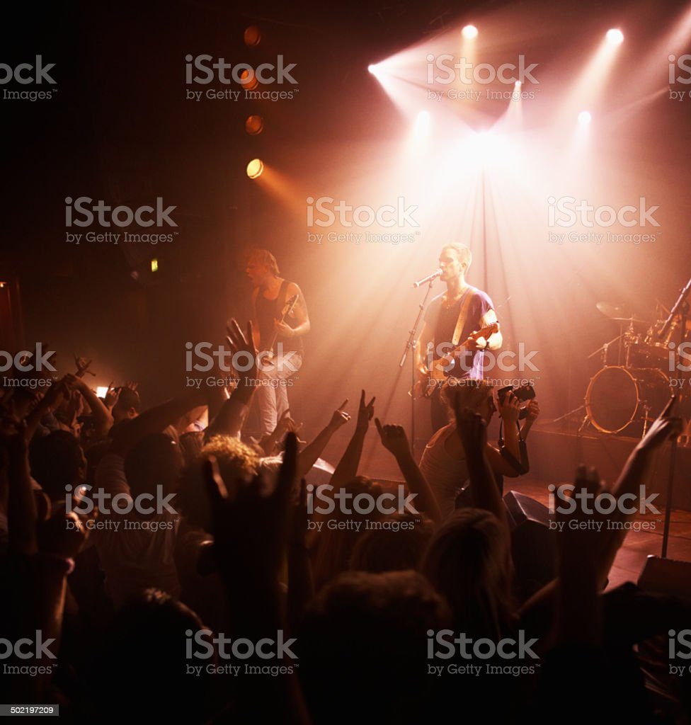 The crowd is elated stock photo