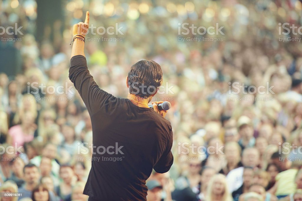 The crowd loves him! stock photo