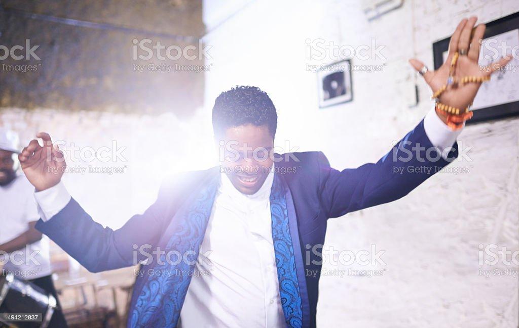 The crowd praises him stock photo