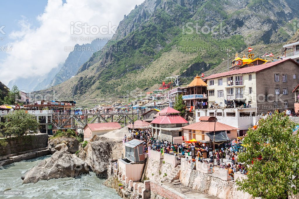 The crowded pilgrimage town of Badrinath stock photo